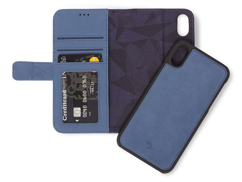 Decoded Leather 2in1 Wallet, blue - iPhone XS/X