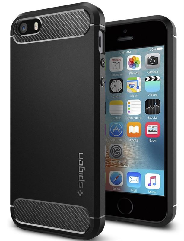 Spigen Rugged Armor, black - iPhone SE/5s/5