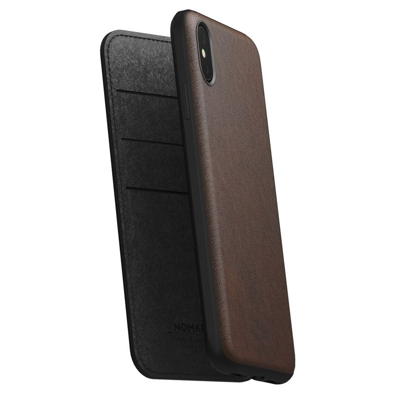 Nomad Folio Leather case, brown - iPhone XS Max