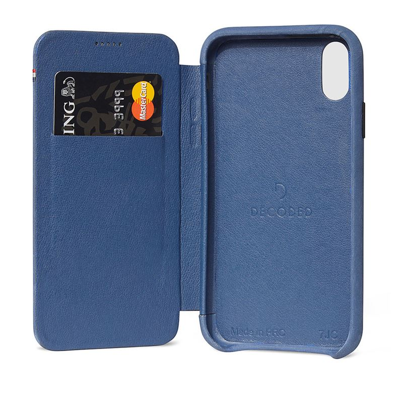 Decoded Leather Slim Wallet, blue - iPhone XS Max
