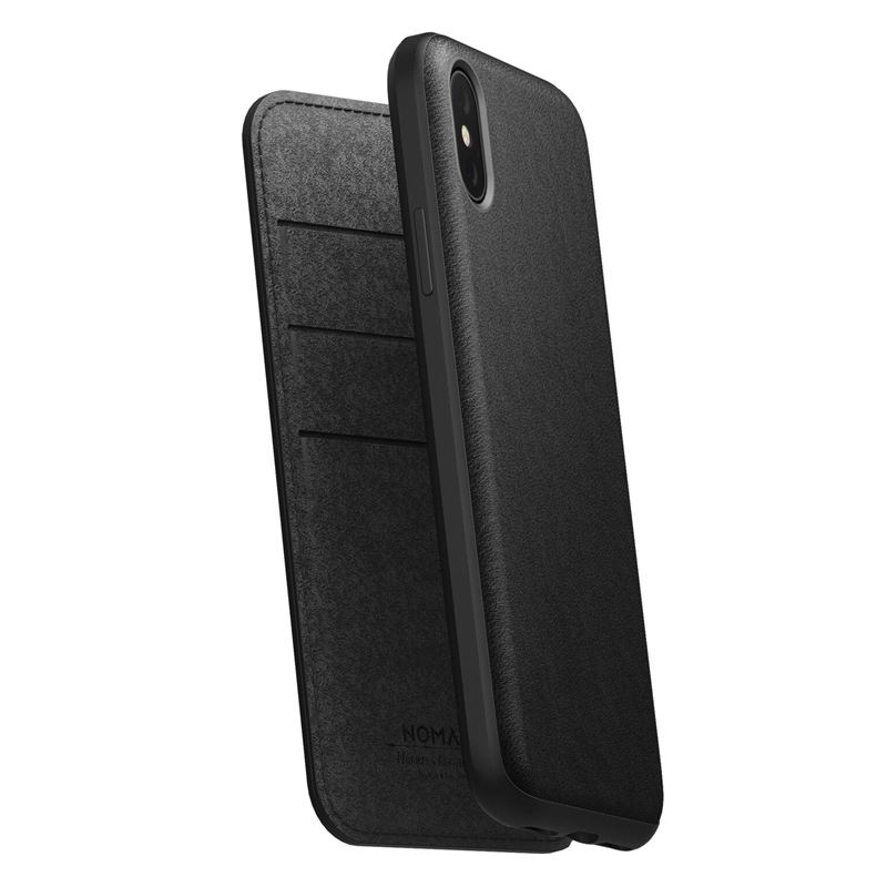 Nomad Folio Leather case, black - iPhone XS/X
