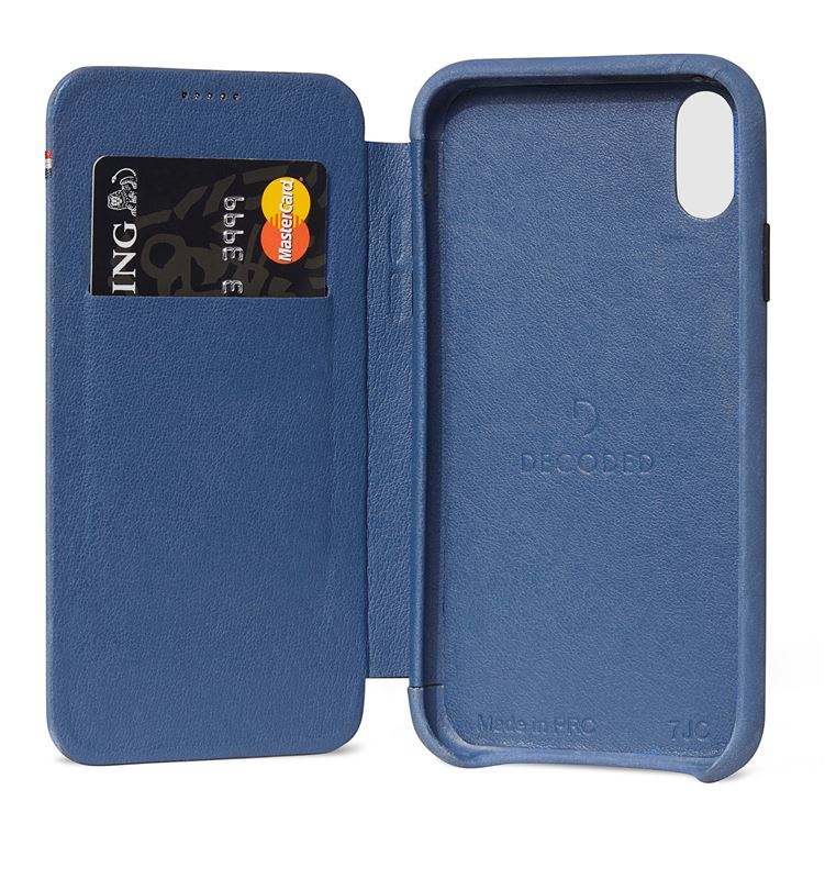 Decoded Leather Slim Wallet, blue - iPhone XR