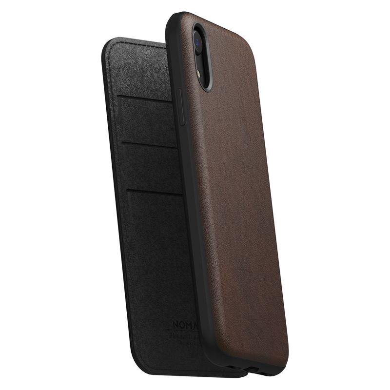 Nomad Folio Leather case, brown - iPhone XR