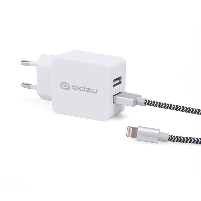Odzu Wall Charger with MFi Lightning Cable, white
