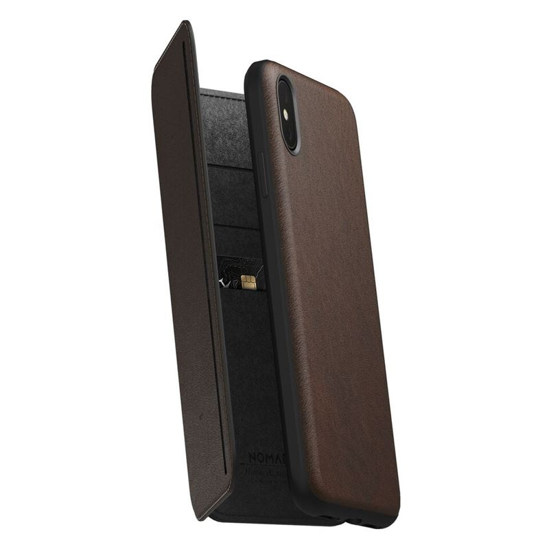 Nomad Folio Leather Tri-Fold, brown -iPhone XS Max