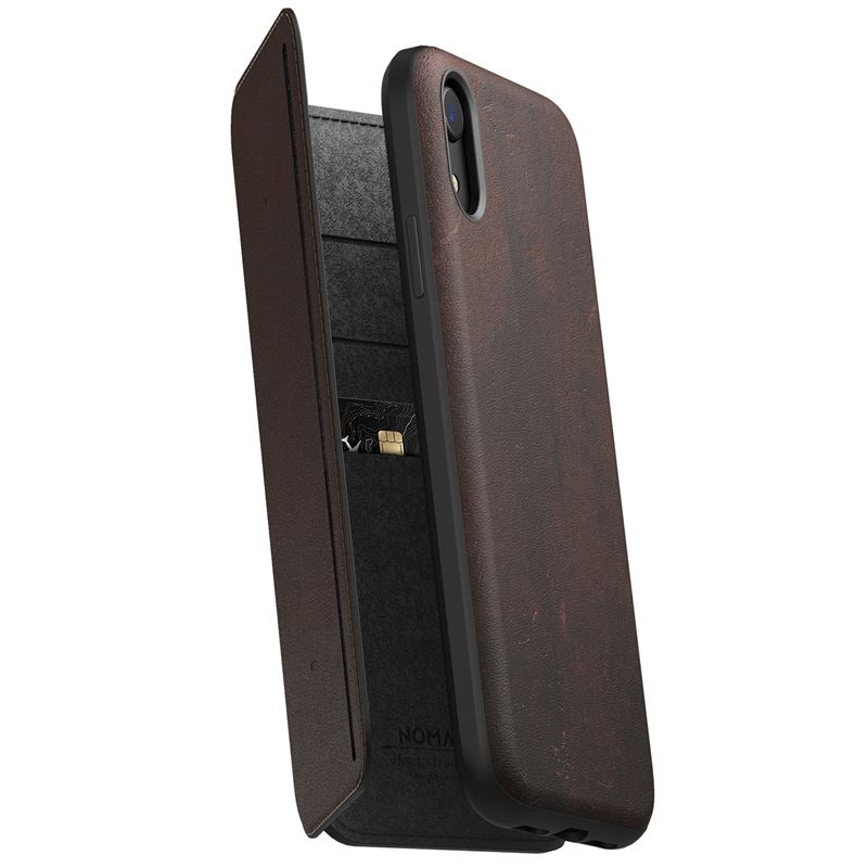 Nomad Folio Leather Tri-Fold, brown - iPhone XR