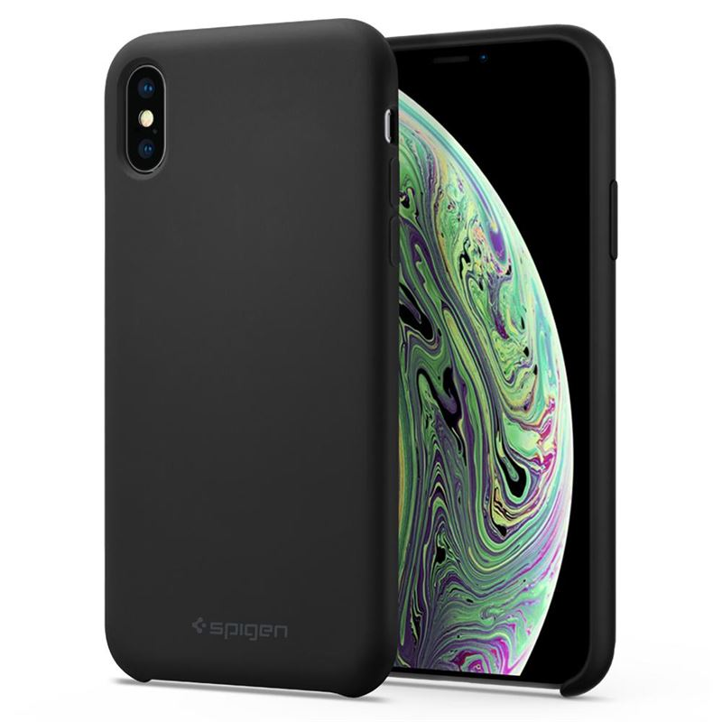 Spigen Silicone Fit, black - iPhone XS/X