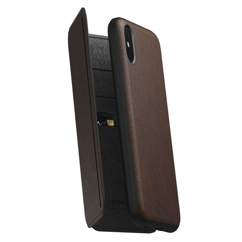 Nomad Folio Leather Tri-Fold, brown - iPhone XS/X