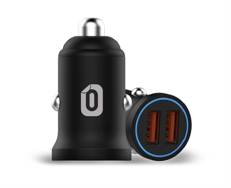 Odzu Car Charger Mini with 2x QC 3.0, black