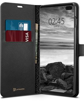 Spigen La Manon Wallet, black - Galaxy S10+